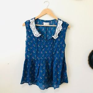 Abercrombie Floral Blue Tank Top with Lace Collar